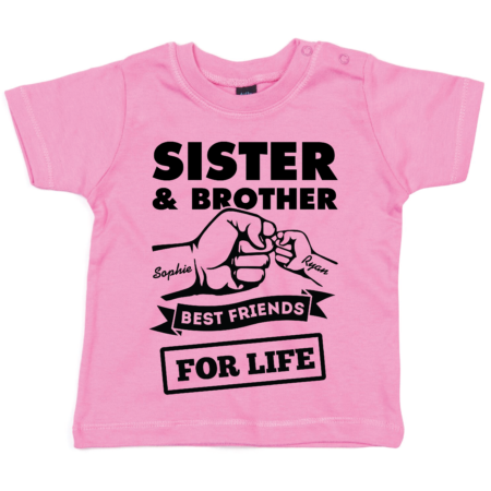 Personalised Baby / Toddler T-Shirt ( Brother & Sister - Best Friends for Life)
