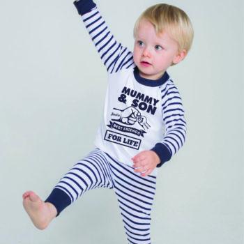Personalised Baby / Toddler Pyjama Set (Navy & White)