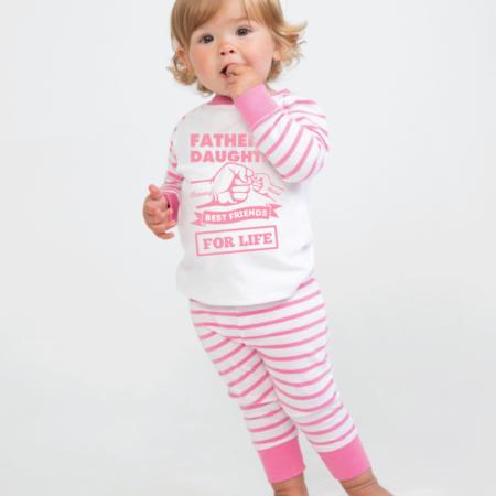 Personalised Baby / Toddler Pyjama Set (Pink & White)