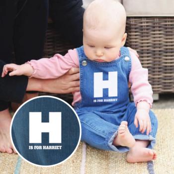Personalised Baby Rocks Denim Dungarees