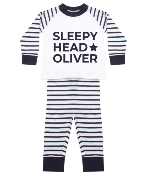 Personalised Baby / Toddler Pyjama Set (Navy & White) Sleep Head Design