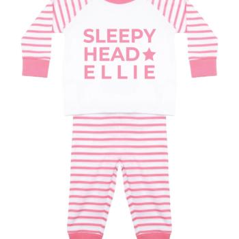 Personalised Baby / Toddler Pyjama Set (Pink & White) Sleepy Head Design