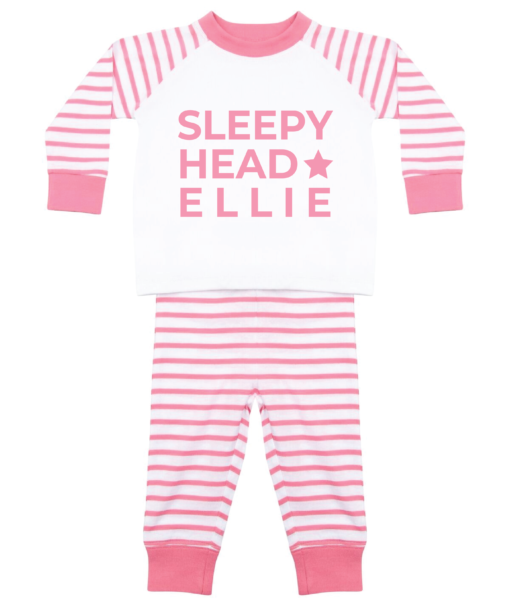 Personalised Baby / Toddler Pyjama Set (Pink & White) Sleepy Head Design