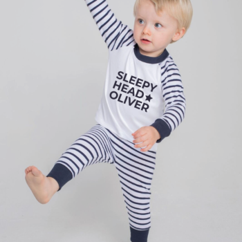 Personalised Baby / Toddler Pyjama Set (Navy & White) Sleep Head Design